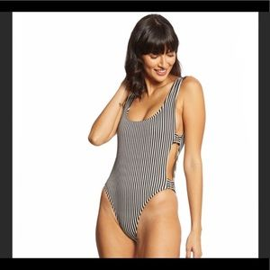 Lspace Mayra black and white striped onepiece